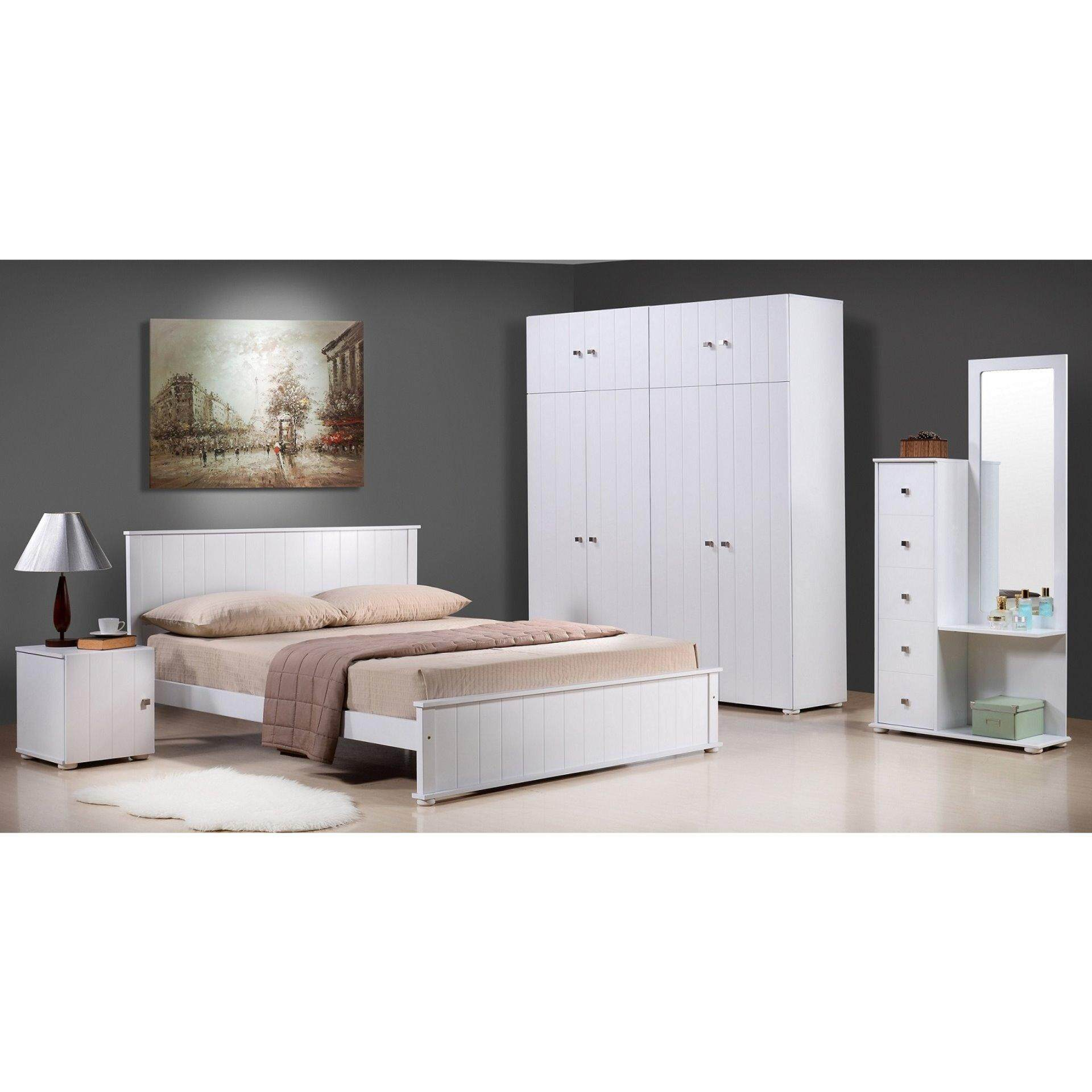 PLZ CM 01050 QUEEN BEDROOM SET WITH 4 DOOR + TOP ( WHITE COLOUR )