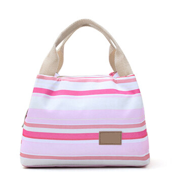 Harga Portable Canvas Insulated Cooler Colorful Stripe Pattern PicnicGrocery Lunch Box Bag Handbag with Zipper for Student Clerk Style 4