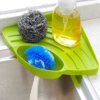 Portable Kitchen Sink Corner Storage Rack Sponge Holder Wall Mounted Tool Green