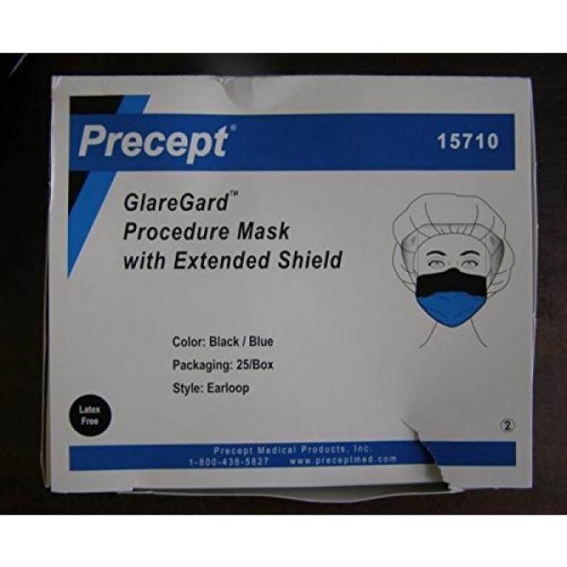 Precept 15710 GlareGard Procedure Mask with Anti-Glare Extended Shield, Black/Blue (Pack of 25)