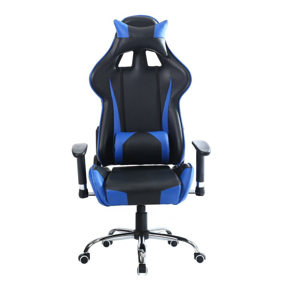 Pu Leather Gaming Chair Backrest Armrest Adjule High Black Blue Malaysia