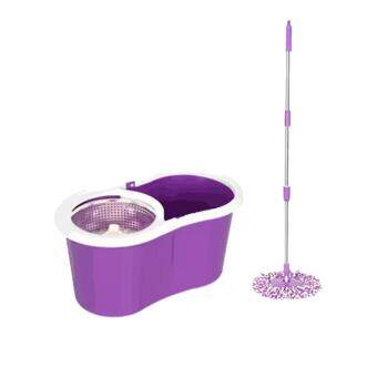 Harga (Purple) Deluxe Magic Spin Mop Stainless Steel Easy Press MopBucket Set + 2 Mop Cloth