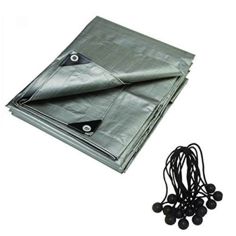 Buy RMS 12 x 16 Foot il Super Heavy Duty Gray Contractors Tarp with 25 Ball Bungees. 8 Oz UV Protecting Malaysia