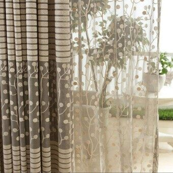Room Leaf Tulle Door Window Curtain - 5