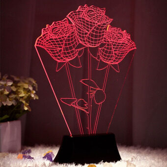 Harga Rose Flower effect 3D Visual LED Night Light Creative Lava TableLamp Novelty Lighting