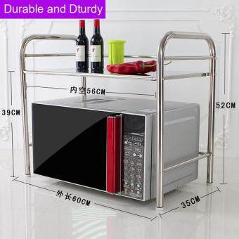 Ruyiyu - 2/3 Layer Kitchen Storage Shelf, Stainless Steel Microwave Oven Rack Kitchen Tableware Shelves Home Storage Rack with One Utensils Container