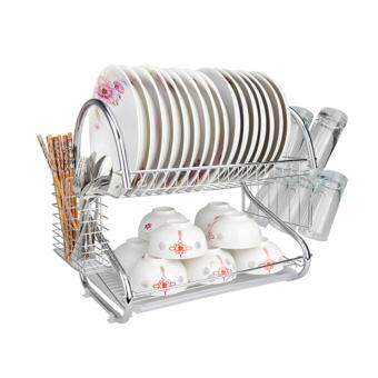 S Shape 2-Layer Stainless Steel Dish Rack with Utensil Holder CupTwo Tier Kitchen Storage Drying