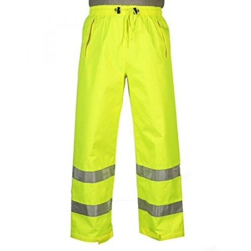 Safety Depot Lime Yellow Reflective Class E Safety Draw String Pants Water Resistant High Visibility and Light Weight 739c-3