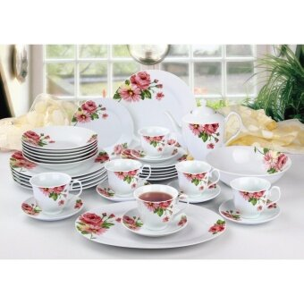 Harga Satinni 34 pcs Fine Porcelain Dinner Set SM 32-008-34