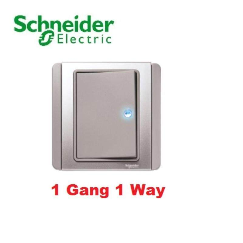 Schneider Electric Neo 1 Gang 1 Way Horizontal Dolly Switch with Blue LED, Grey Silver