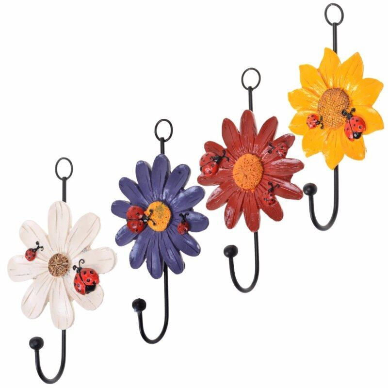 Buy SDD Pack of 4 Assorted Colors Vintage Metal and Polyresin Art Flower Design Decorative Key Hat Cloth Towel Hooks Wall Hanger(Multicolor) Malaysia