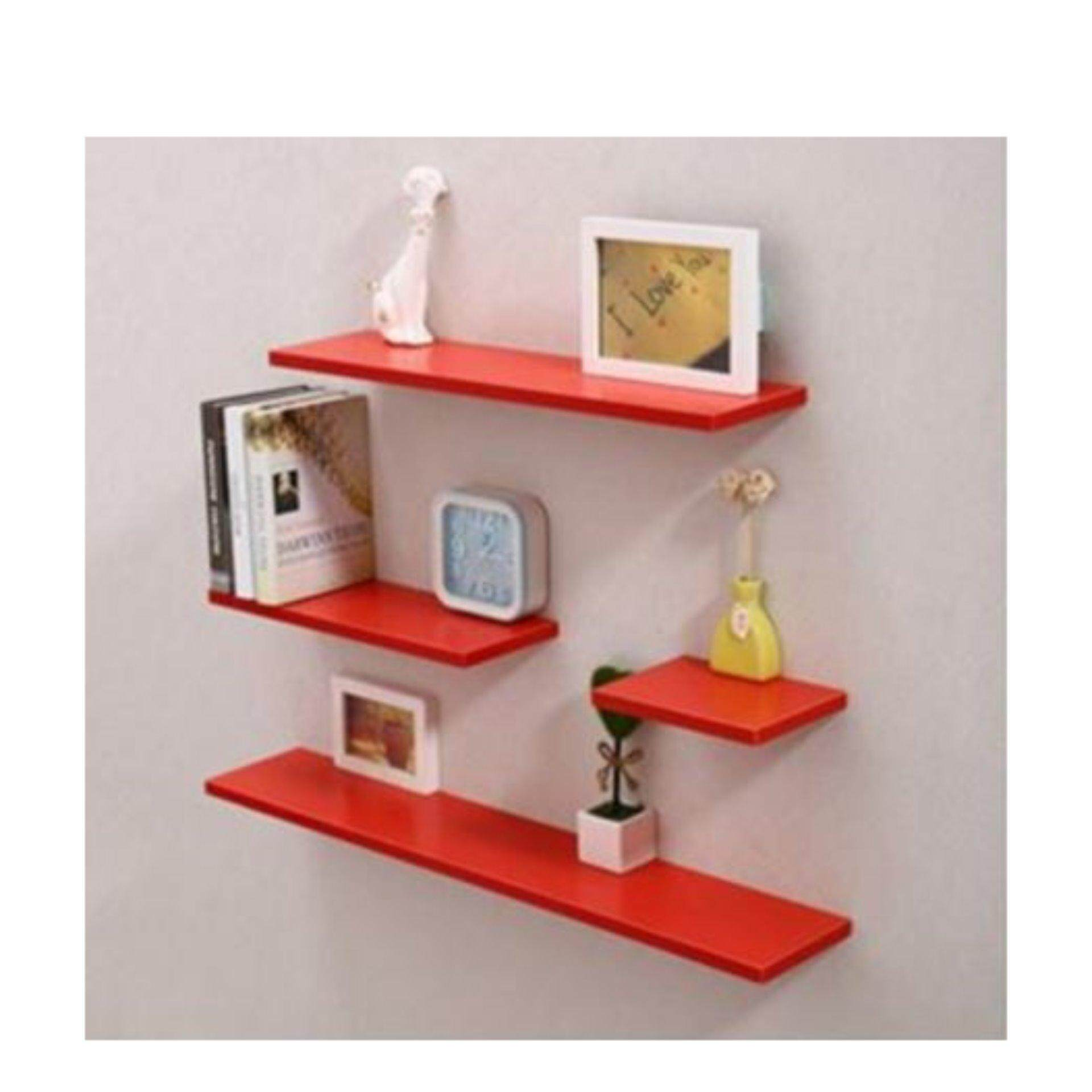 Set of 4 Horizontal Shape Wall Mounted Shelves Design A Red