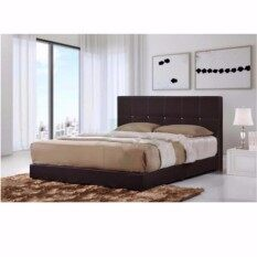 SG TAN Promotion :Sofiaa High Quality MDF Queen Size Divan Bed With Brown  Synthetic Leather Cover (201cmx96cmx154cm) Divan Bedroom Hitam
