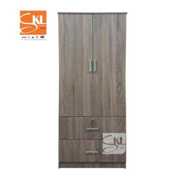 SKL6160 2 DOORS WARDROBE W/ 2 DRAWERS (DARK OAK)