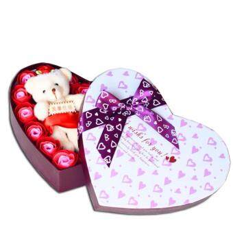 SOKANO Cutie Bear With 20 PCs Flower Soap- Red