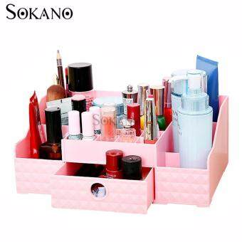 Harga SOKANO FS002 Korean Style Cosmetic and Table Top Organizer With Drawer- Pink