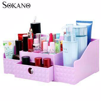 Harga SOKANO FS002 Korean Style Cosmetic and Table Top Organizer WithDrawer- Purple