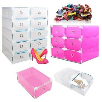 SOKANO Premium Drawer Style Hard Plastic DIY Shoe Organizer Box  White