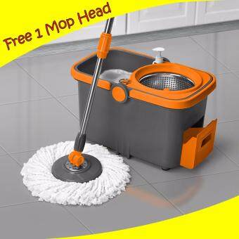 spin mop cycle stainless steel bucket with 1 free mop head