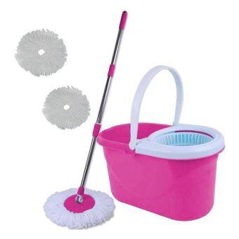 Harga Spin Mop Magic Mop + Cleaner Bucket + 2 Mop Heads (Pink)