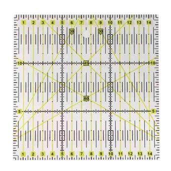 Square Acrylic Clear Grid Acrylic Quilting Templates PatchworkRuler 15 x15cm