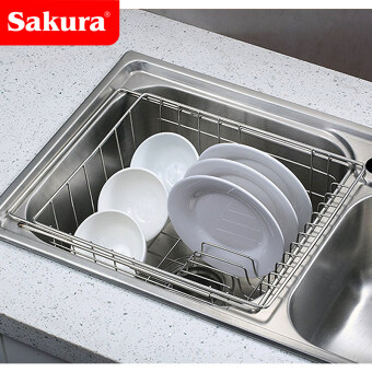 Harga Stainless steel can be retractable washing pool drain rack kitchensink shelf drain water dish rack drain basket