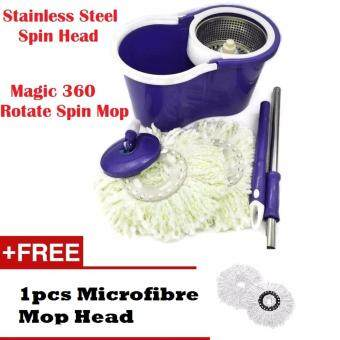 Stainless Steel Spin Mop Magic 360 Rotating + FREE 2 Mop Heads + Cleaner Bucket (Purple)