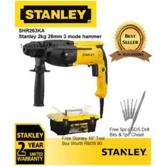 "STANLEY SHR263KA 800W 26mm Rotary Hammer FREE 5pcs SDS PLUS Drill Bits & 1pc Chisel FREE STANLEY 16\"" Tool Box STST73696"