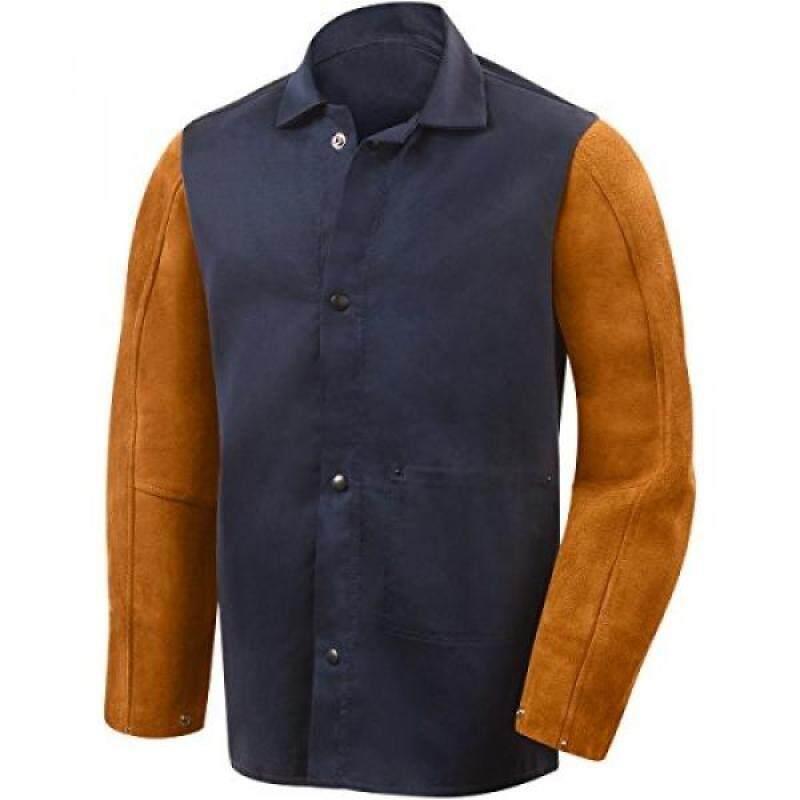 Buy Steiner 1260-L 30-Inch Jacket, Weldlite Plus Navy Cotton, Rust Cowhide Sleeves, Large Malaysia