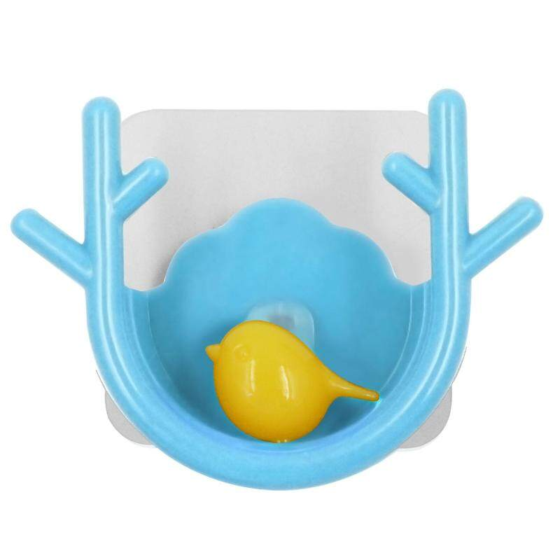 Super Powerful Suction Cup Hook Holder Organizer for Towel Bathrobe Loofah Cartoon Branch Shape Blue