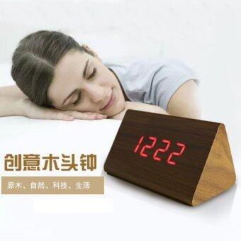 T128 Triangle LED Wooden Look Alarm Digital Desk Clock - 4