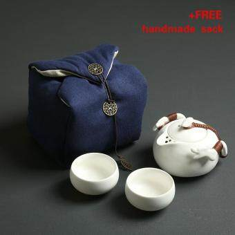 Tea Sets Chinese Kung Fu Tea Set Ceramic Teapot Tea Cup PortableTravel Tea Set(White)