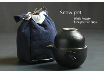 Tea Sets Chinese Kung Fu Tea Set Pottery Teapot Tea Cup PortableTravel Tea Set One Pot Two Cups(Snow Pot)