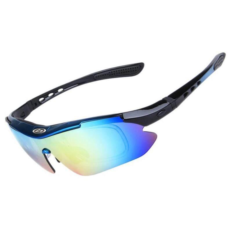 Teekeer Polarized Sports Sunglasses With 5 Interchangeable Lenses For Men Women Cycling Baseball Running Fishing Driving Golf Glasses(blue+black)
