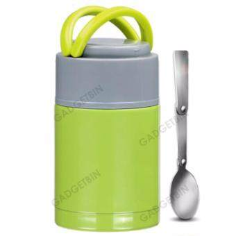 Thermal Cooker Pot 800ml With Steam Release Thermos Vacuum SteelHot Food Jar (Green)