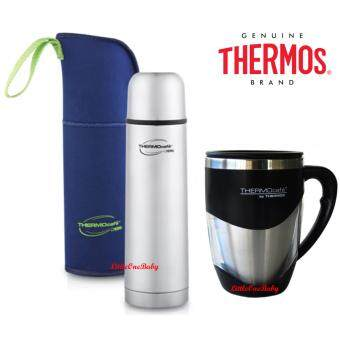 Harga Thermos 1.0L ThermoCafe Basic Living Flask with Pouch 5 Years Warranty!FREE 375ml DESKTOP MUG