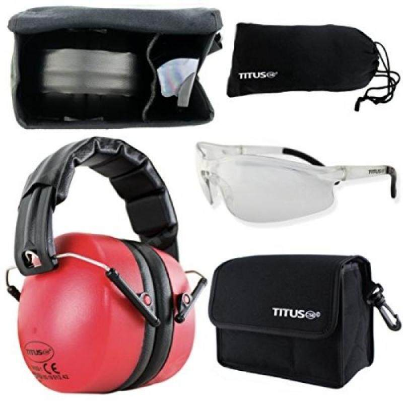 Buy TITUS 37 Decibel NRR Safety Earmuffs & Glasses Combo (Red, G20 Clear w/ All-Sport Frame) Malaysia