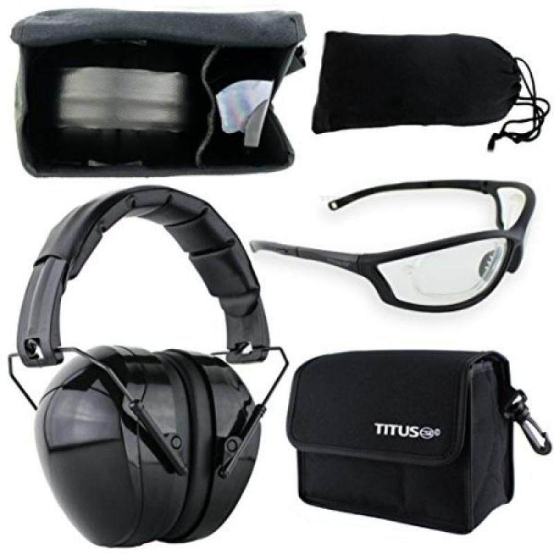 Buy TITUS Earmuff/Glasses Combo – Gloss Black 32NRR Muffs & G Series Safety Glasses - Ear+Eye Protection Bundle (EarMuffs, Glasses, and Carrying Case) - Personal Safety, Shooting Gear, Portable Pouc Malaysia