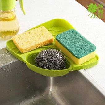 Triangular Kitchen Sink Corner Shelf Wall Mounted Sponges Storage Rack with Drain Grooves triangular storage rack