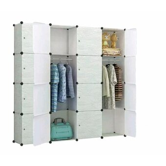 Harga Tupper Cabinet 16 Cubes Wood Design DIY Wardrobe