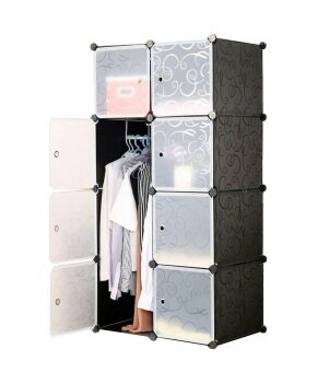 Harga Tupper Cabinet 8 Cubes DIY Wardrobe - Black Stripes