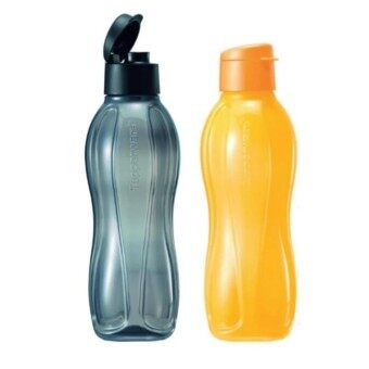 Tupperware Eco Bottle Flip Top 1L Set of 2 in Yellow and Black