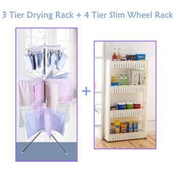 VALUE SET: 3 Tier Clothes Hanging & Drying Rack + 4 Tier SlimWheel Rack Organizer