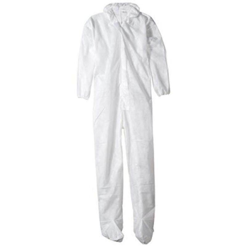 ValuMax 4203WHXL Polypro-2 Disposable Polypropylene Coverall, 47 Gram Fabric, Hood and Boots, Elastic Cuffs, White, XL, Case of 25