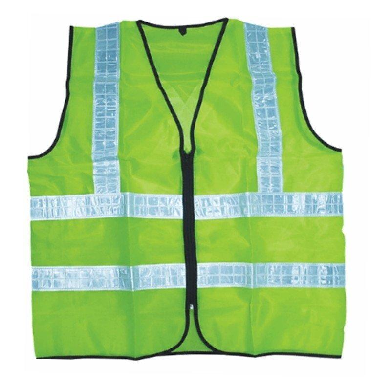 Velco Thin Reflective Zipper Safety Vest Coat (Neon Green)