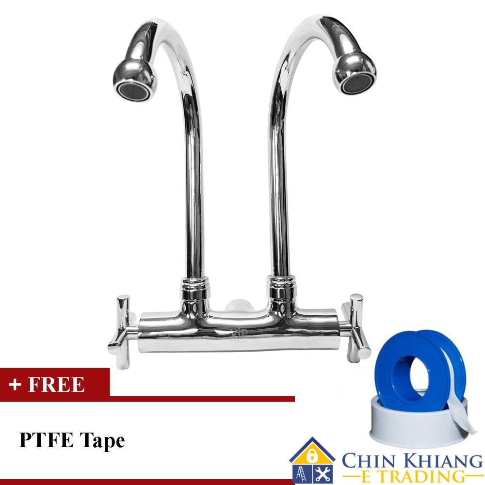 Vip 3333 Wall Mounted Double Kitchen Sink Water Tap Faucet Malaysia