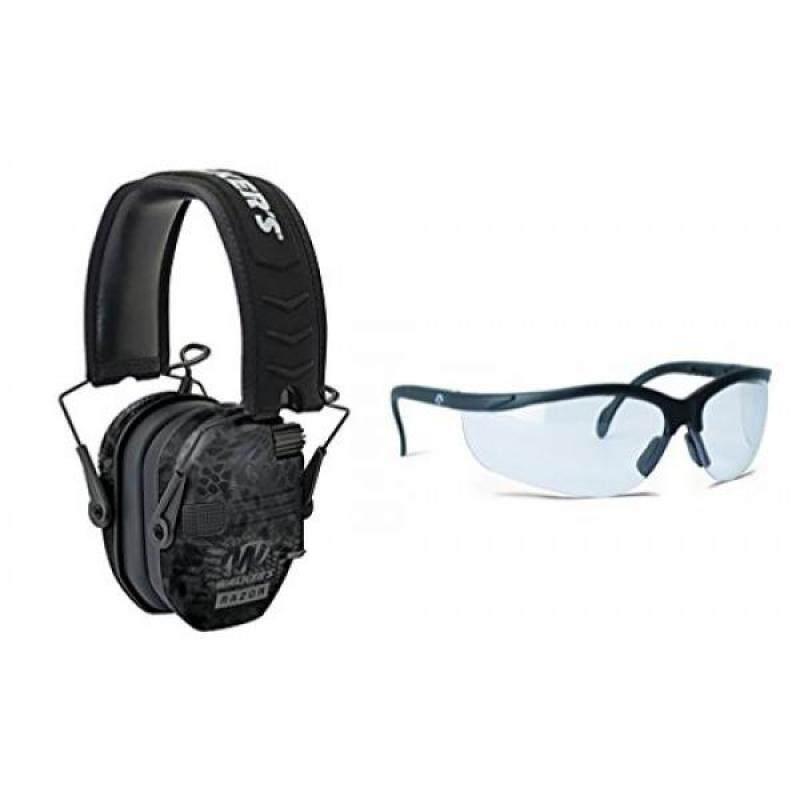 Walkers Game Ear Razor Slim Electronic Muff (Kryptek Camo) BUNDLED with Clear Lens Shooting Glasses