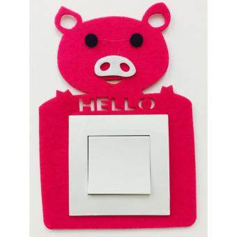 Wall decoration Removable Living room bedroom Socket SwitchStickers (Pink Hello)