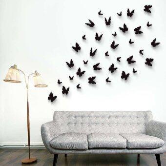 Walplus 36pcs 3D Black Butterflies Wall Stickers Part 82
