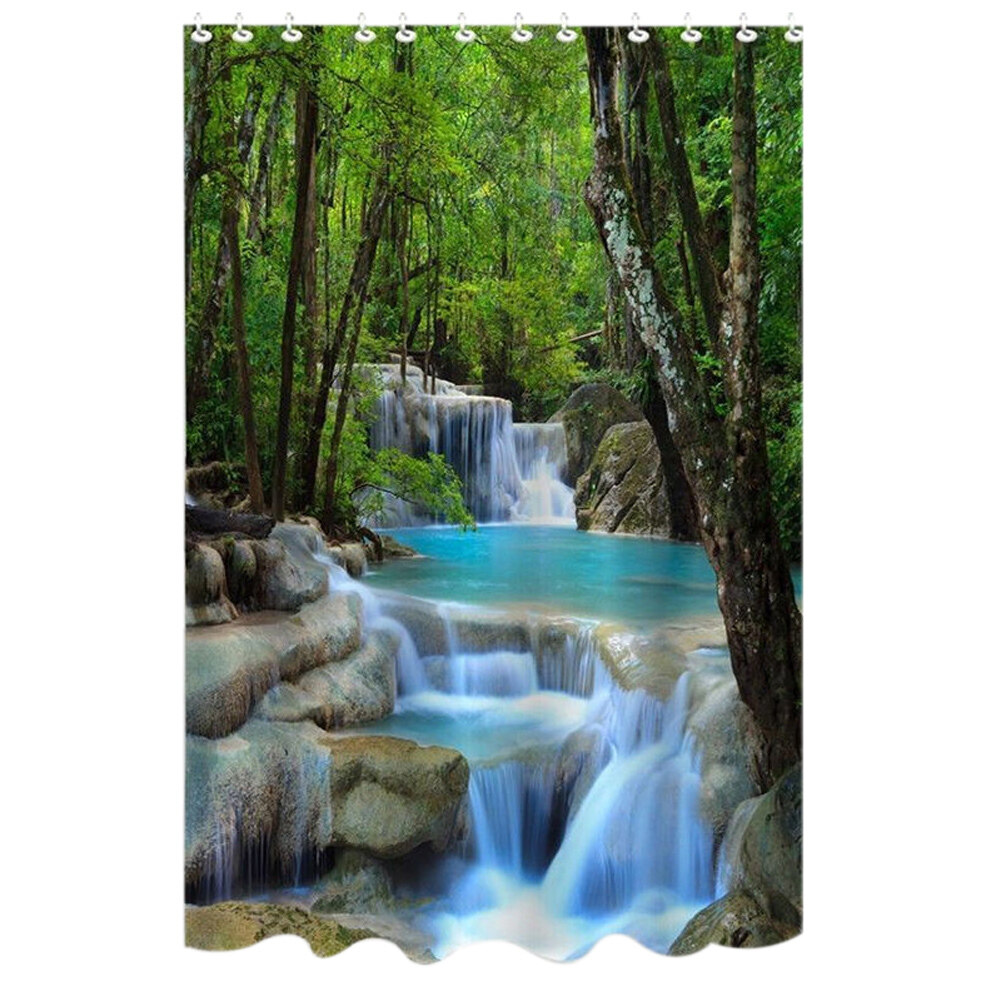 Bathroom waterproof polyester fabric shower curtain lazada malaysia - Waterfalls Nature Scenery Shower Curtain Bathroom Waterproof Fabric 72 Inch Lazada Malaysia